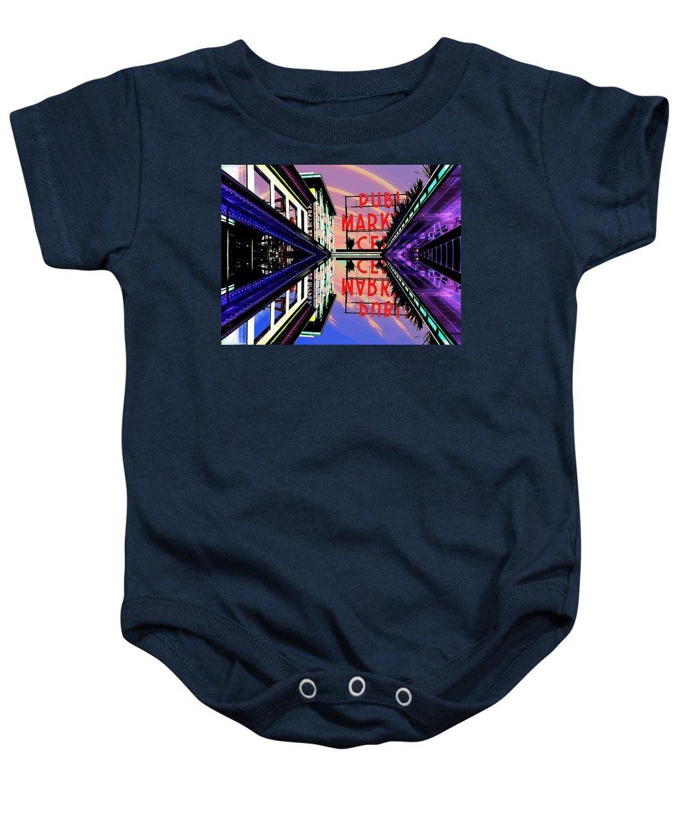 Seattle Baby Onesie featuring the digital art Market Entrance by Tim Allen