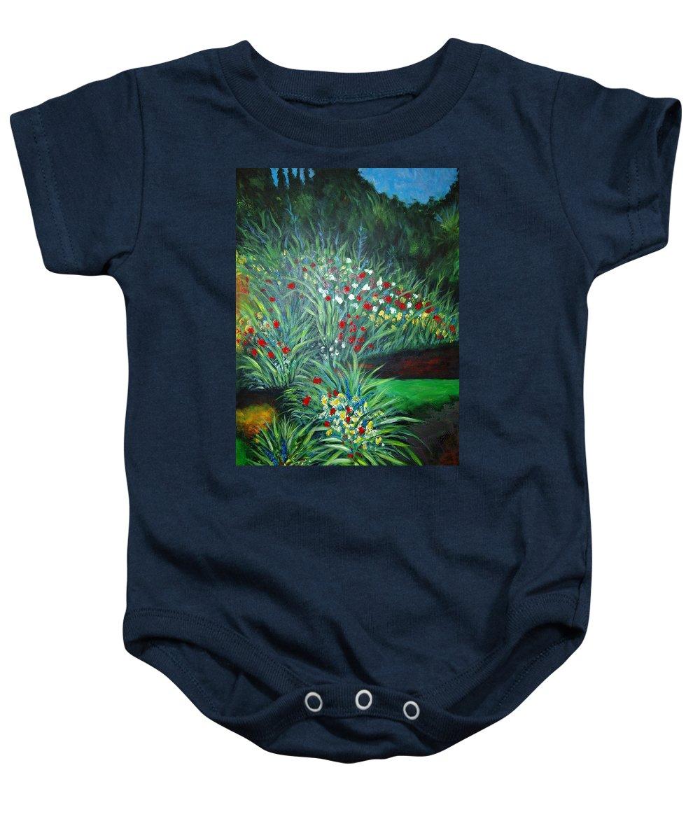 Landscape Baby Onesie featuring the painting Maryann's Garden 3 by Nancy Mueller