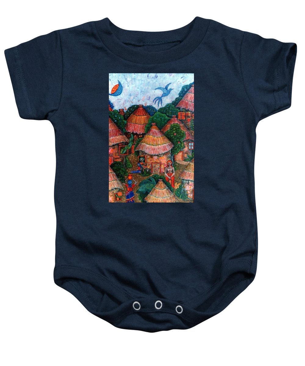 Africa Baby Onesie featuring the painting Maybe That Was My Country by Madalena Lobao-Tello