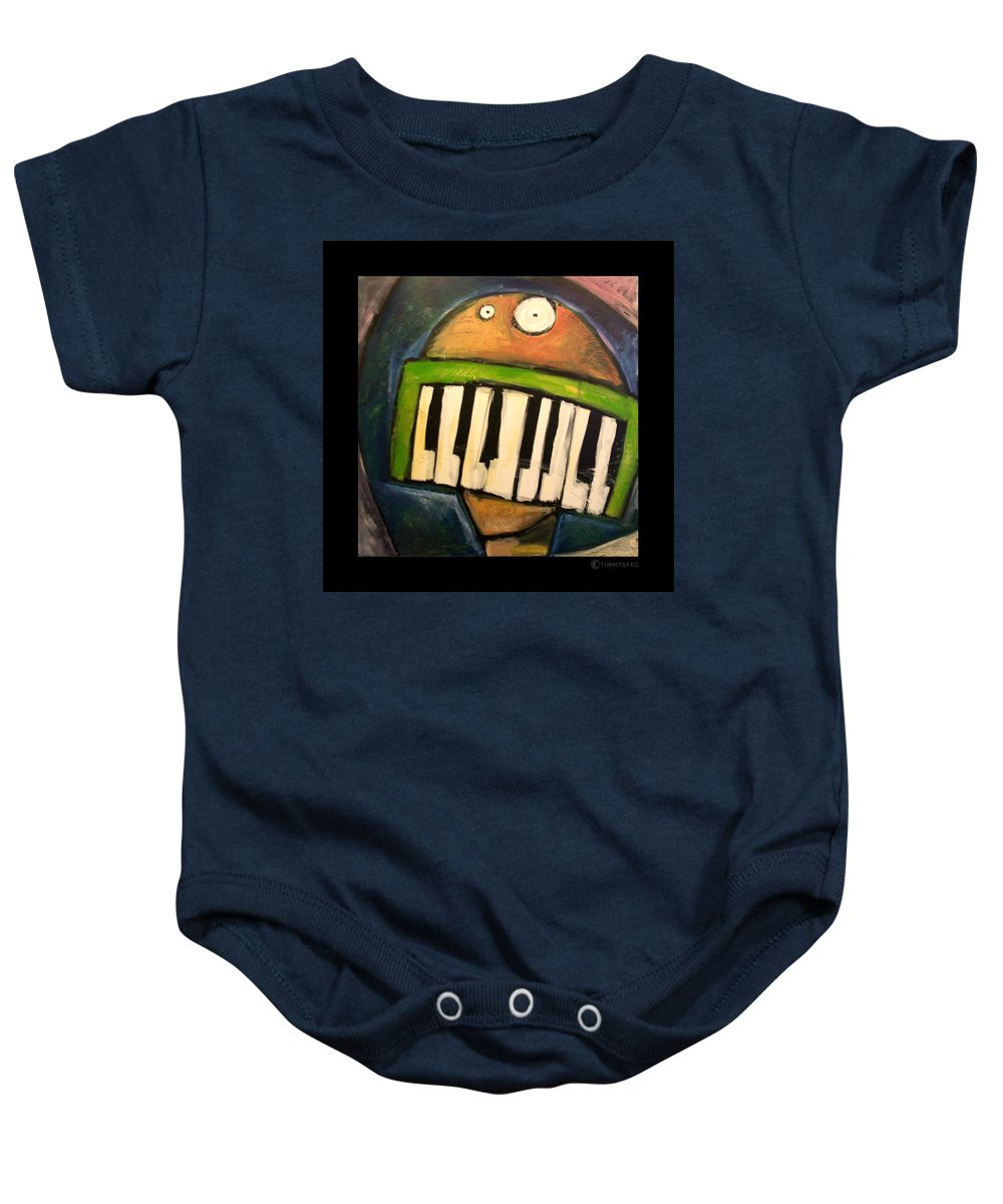 Funny Baby Onesie featuring the painting Melodica Mouth by Tim Nyberg