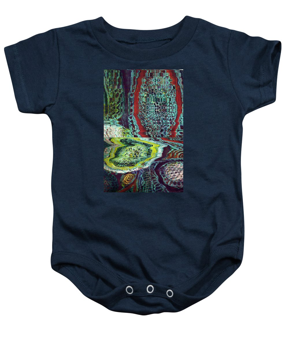 Abstract Baby Onesie featuring the painting Melting by Wayne Potrafka