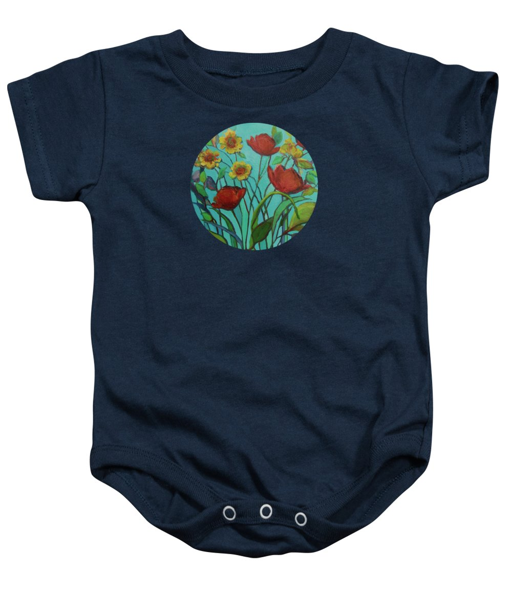 Contemporary Floral Painting Baby Onesie featuring the painting Memories Of The Meadow by Mary Wolf