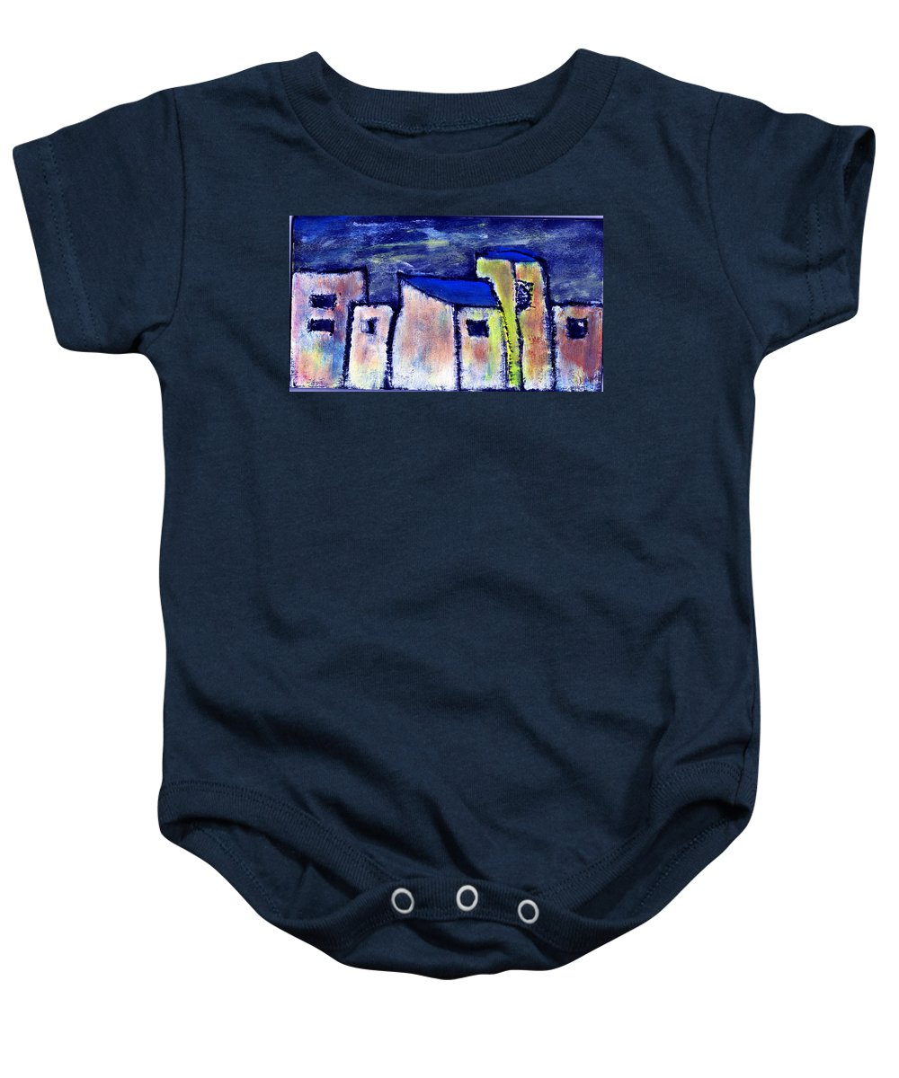 Buidings Baby Onesie featuring the painting Memories by Wayne Potrafka