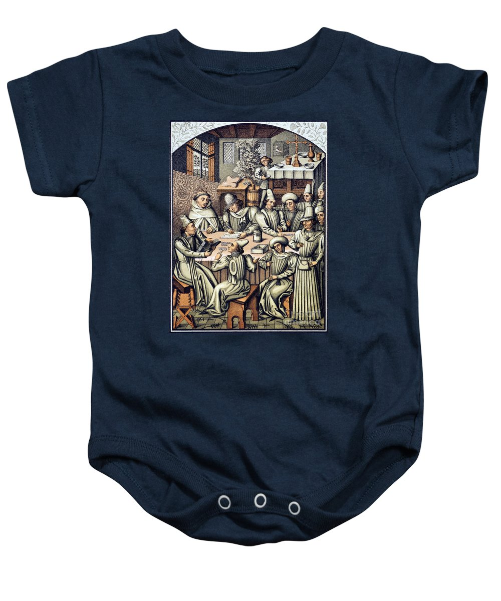 15th Century Baby Onesie featuring the photograph Merchants Paying Taxes by Granger