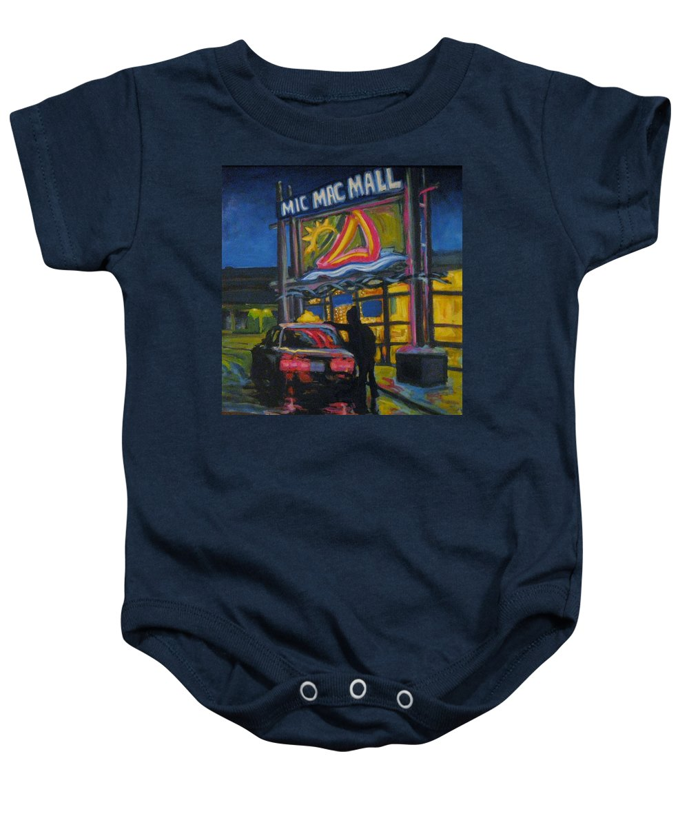 Retail Baby Onesie featuring the painting Mic Mac Mall Spectre Of The Next Great Depression by John Malone