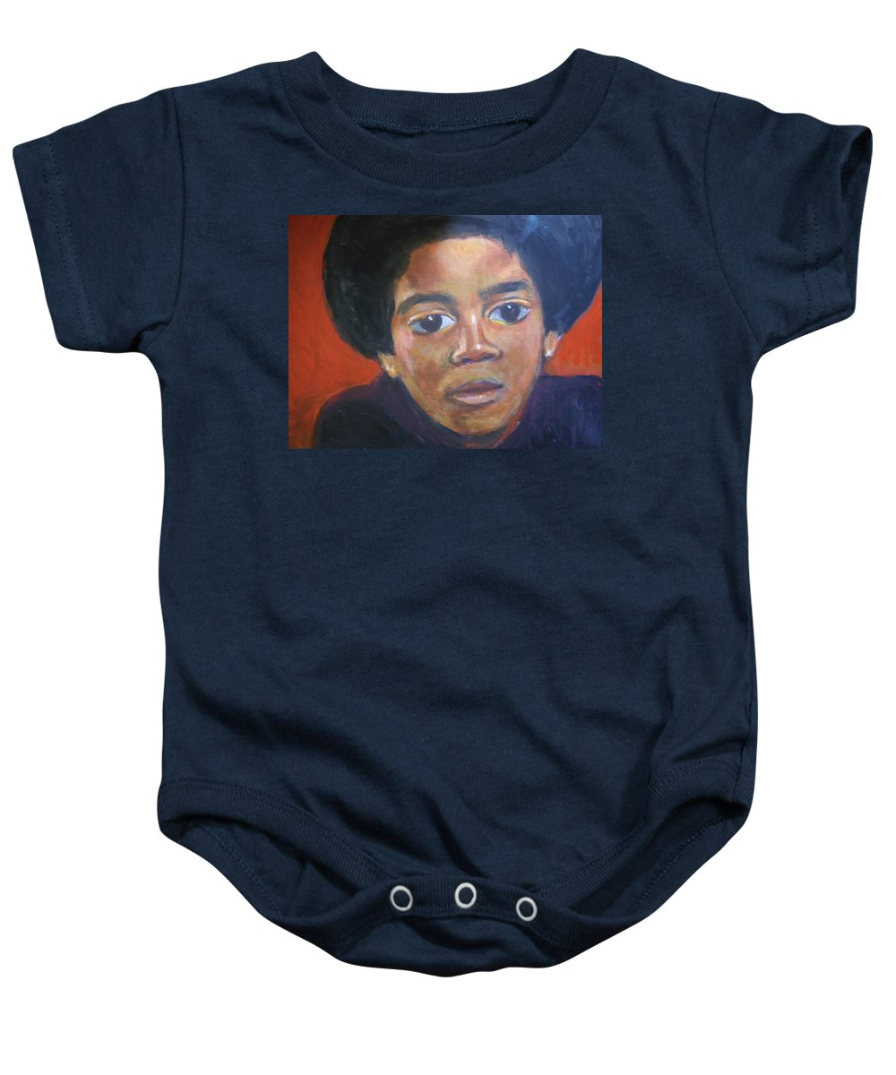 Michael Jackson Baby Onesie featuring the painting Michael Jackson by Jan Gilmore
