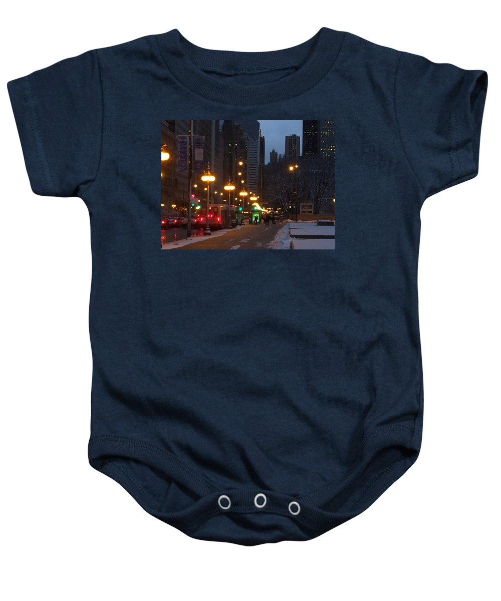 Night Baby Onesie featuring the photograph Michigan Avenue At Night by Jan Gilmore
