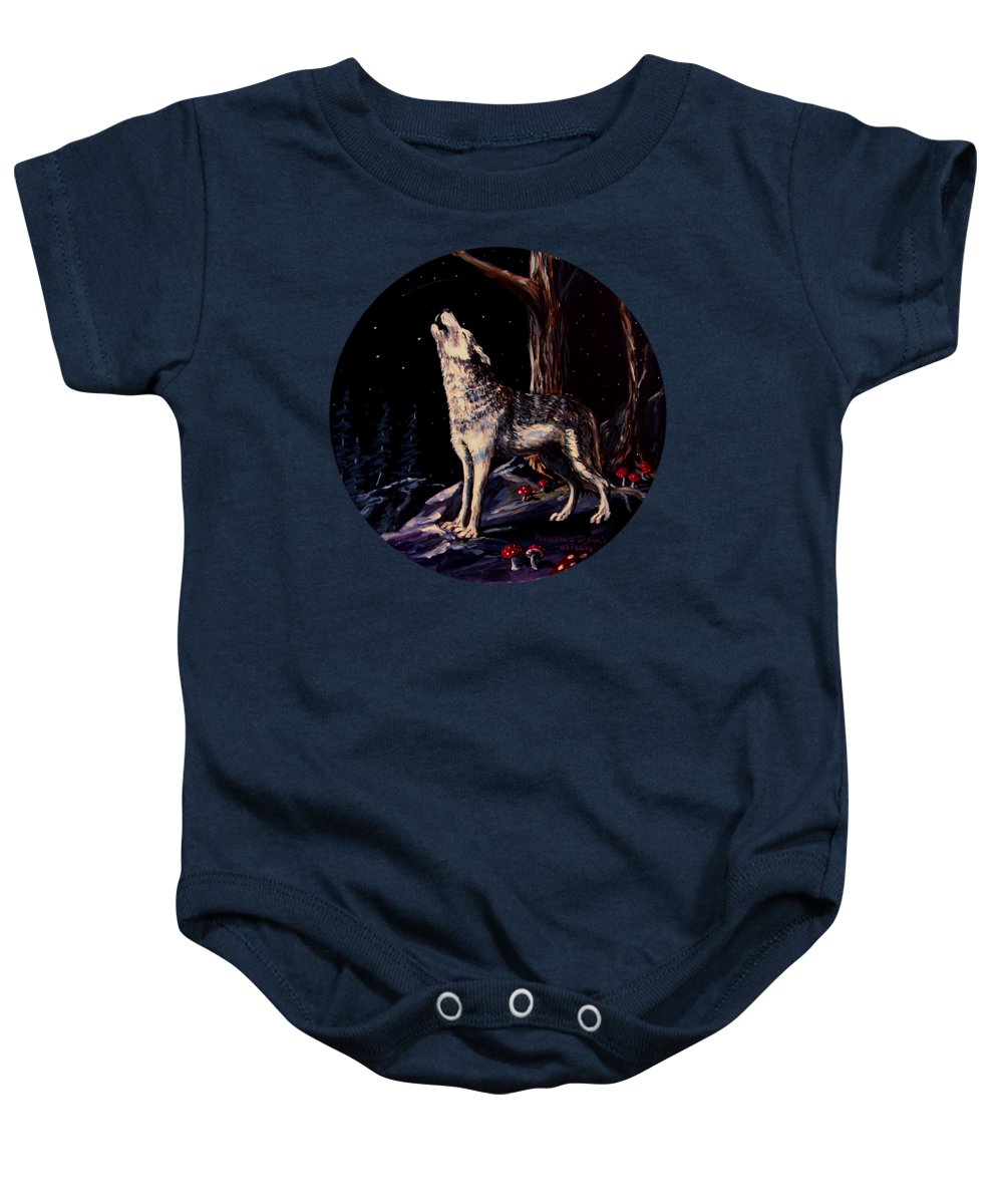 Wolf Baby Onesie featuring the painting Midnight Wolf by Ruanna Sion Shadd a'Dann'l Yoder