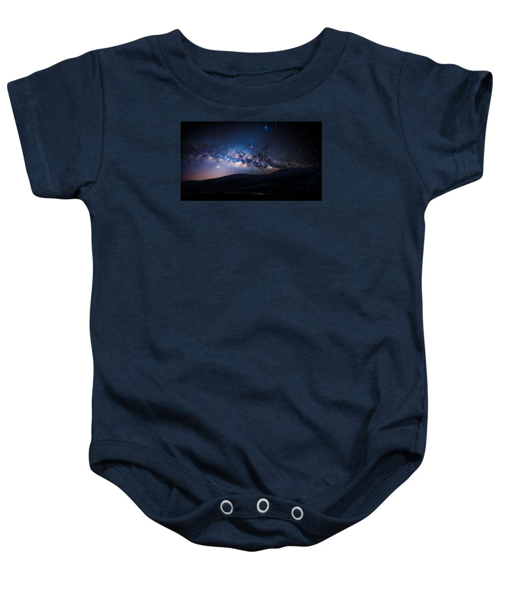 Galaxy Baby Onesie featuring the photograph Milky Way Galaxy From Earth by Artistic Panda