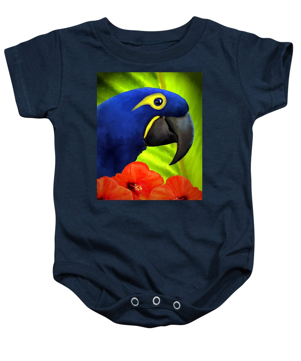 Hyacinth Macaw Baby Onesie featuring the painting Mimi by David Wagner