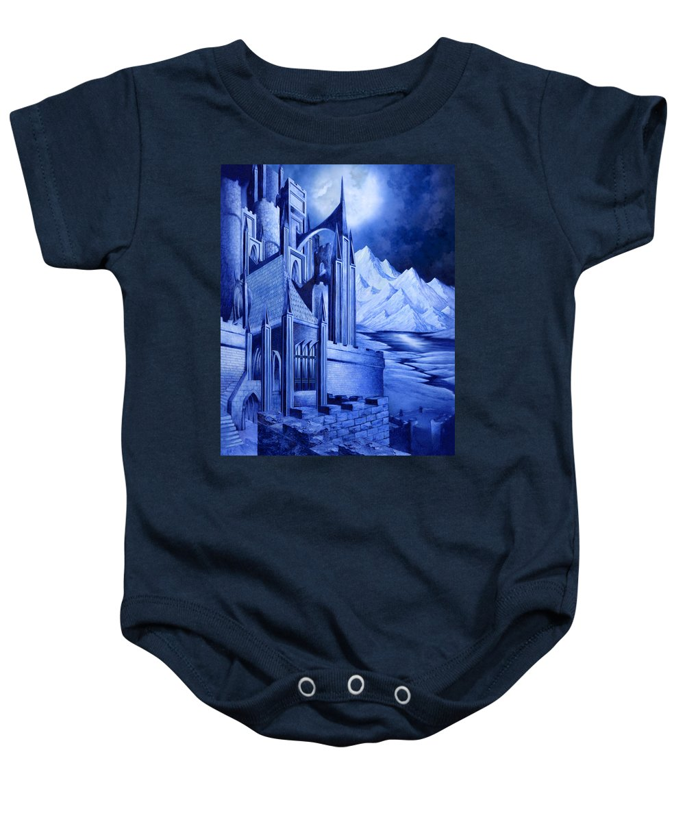 Lord Of The Rings Baby Onesie featuring the mixed media Minas Tirith by Curtiss Shaffer