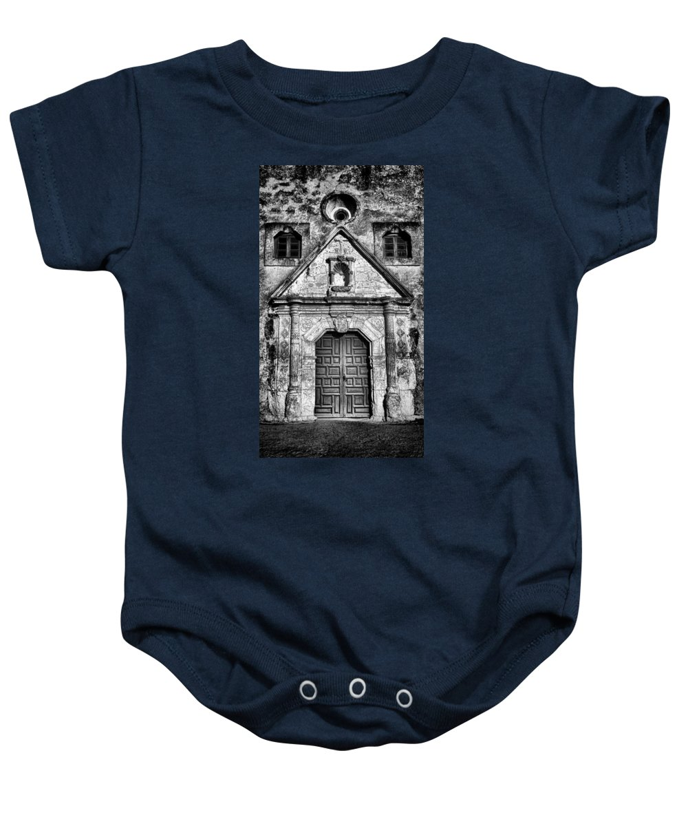 Texas Baby Onesie featuring the photograph Mission Concepcion Front - Classic Bw by Stephen Stookey