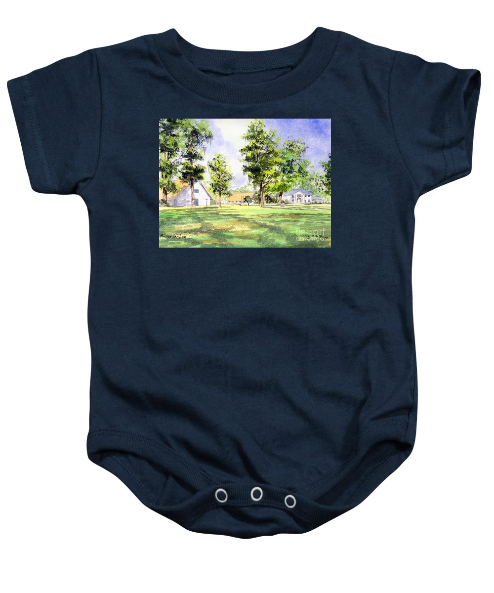 Mission San Luis Baby Onesie featuring the painting Mission San Luis by Bill Holkham