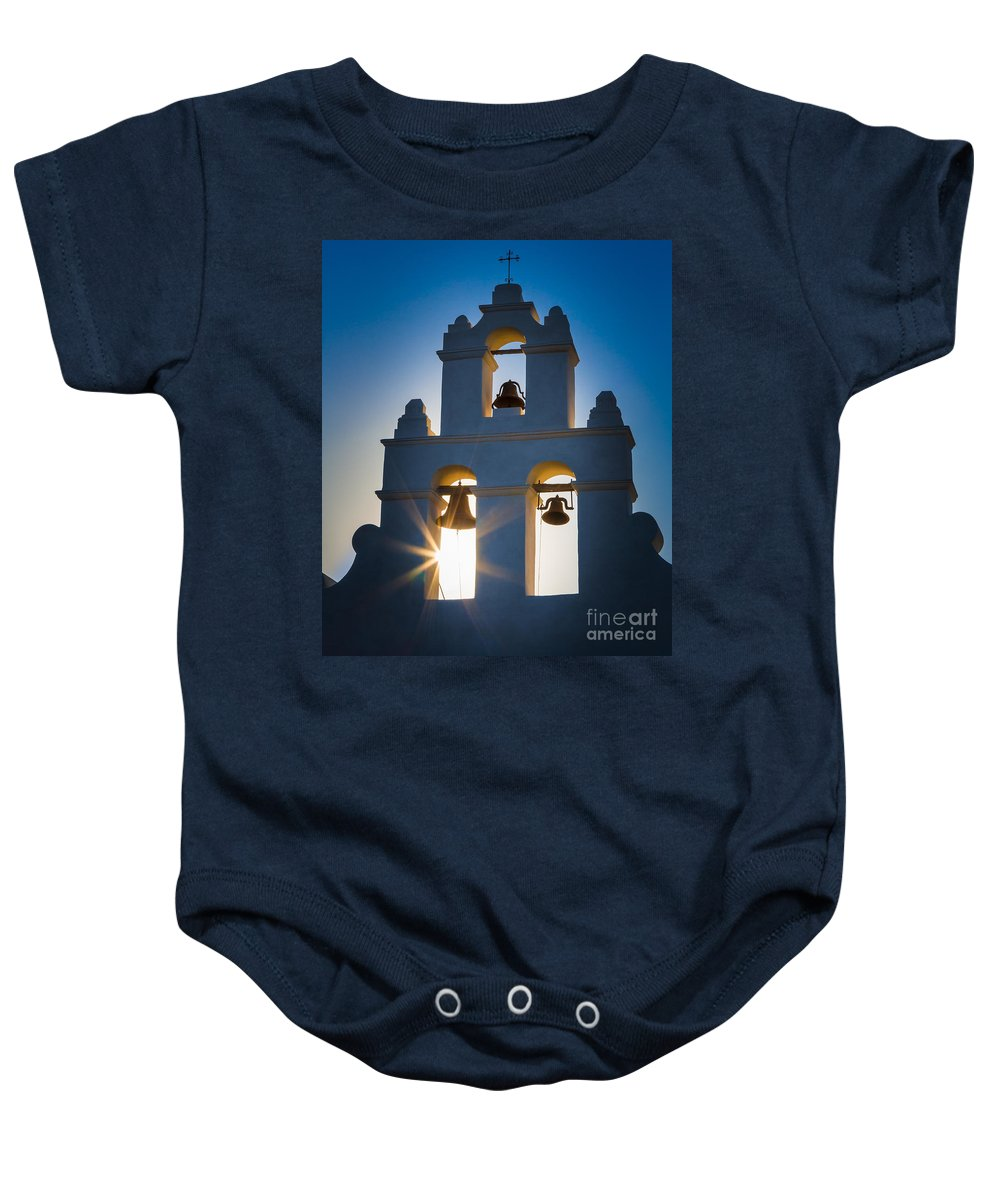 America Baby Onesie featuring the photograph Mission Sunset by Inge Johnsson