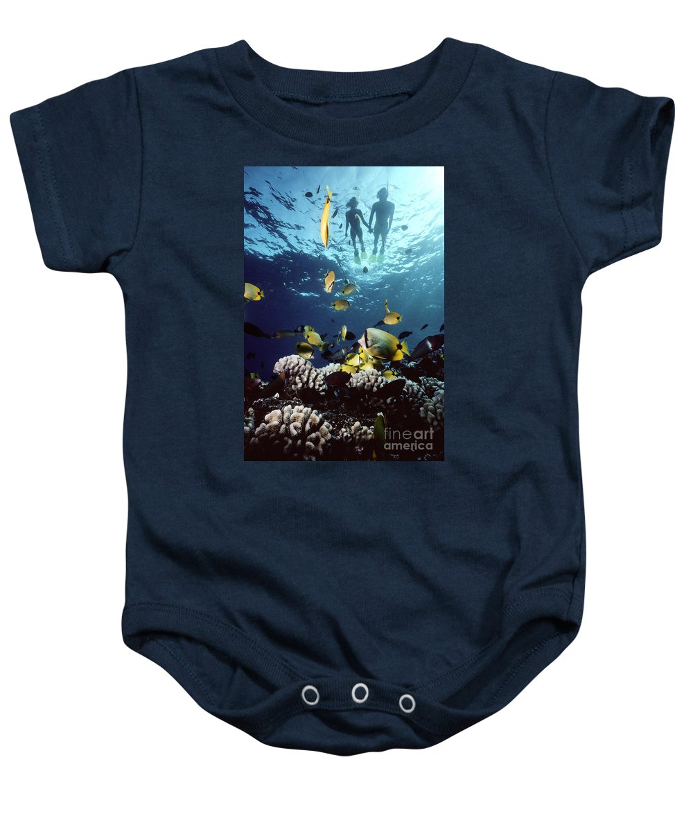 Blue Baby Onesie featuring the photograph Molokini Snorkeling Couple by Ed Robinson - Printscapes