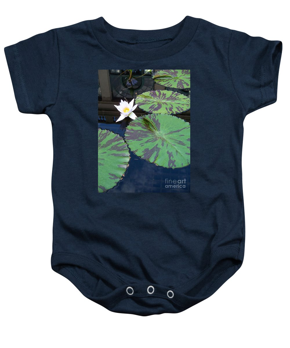 Photograph Baby Onesie featuring the photograph Monet Lilies White by Eric Schiabor