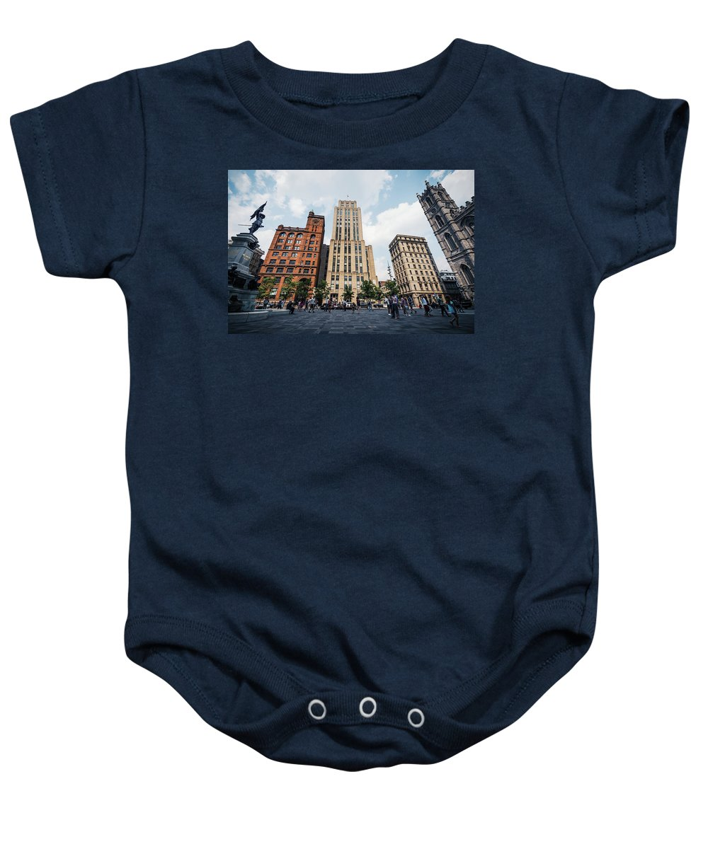 Montreal Baby Onesie featuring the photograph Montreal - Place Darmes by Alexander Voss