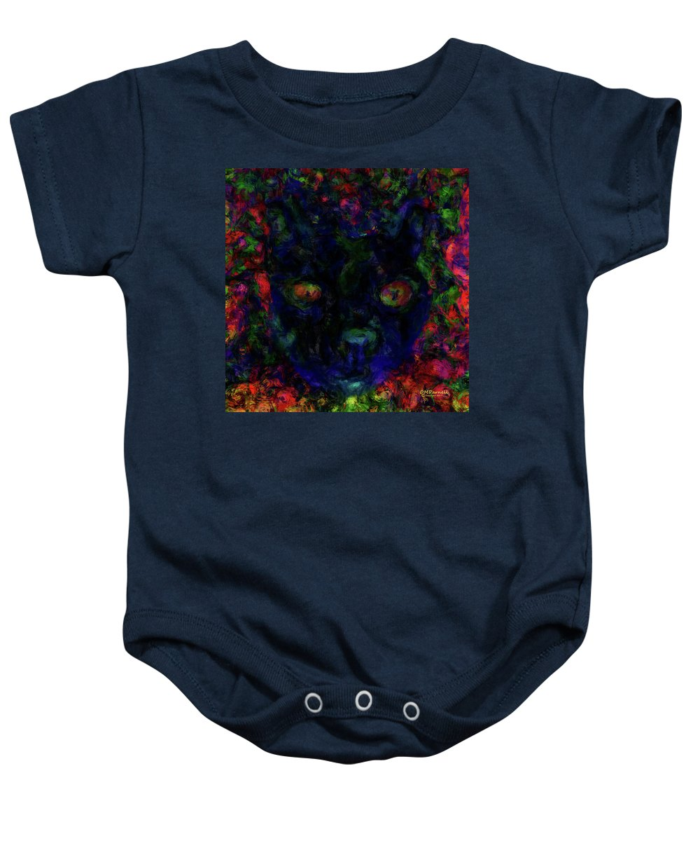 Cat Baby Onesie featuring the digital art Moochie Wants A Treat by Diane Parnell