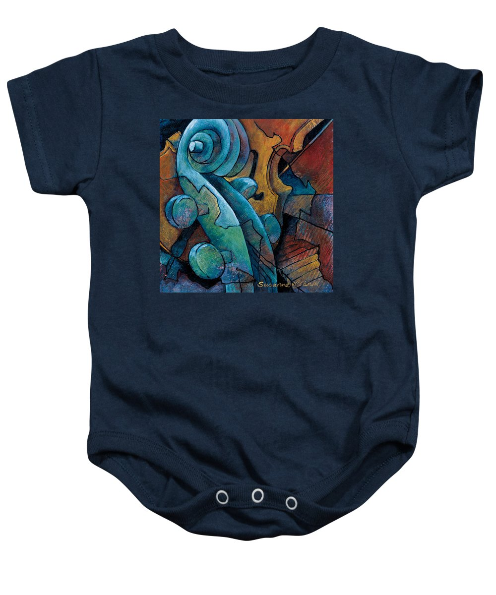 Cello Artwork Baby Onesie featuring the painting Moody Blues by Susanne Clark