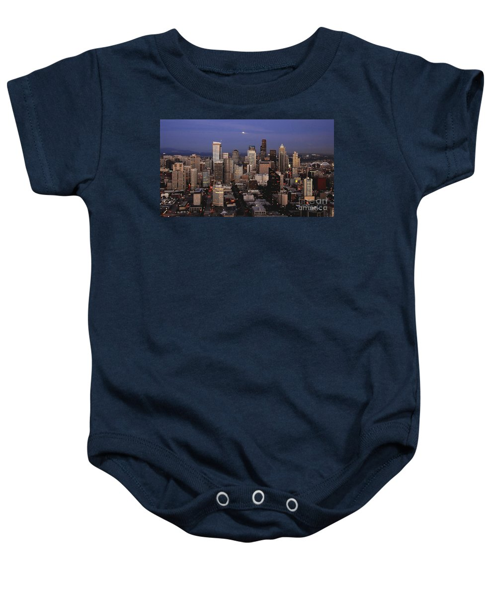 Seattle Baby Onesie featuring the photograph Moon Over Seattle by David Lee Thompson