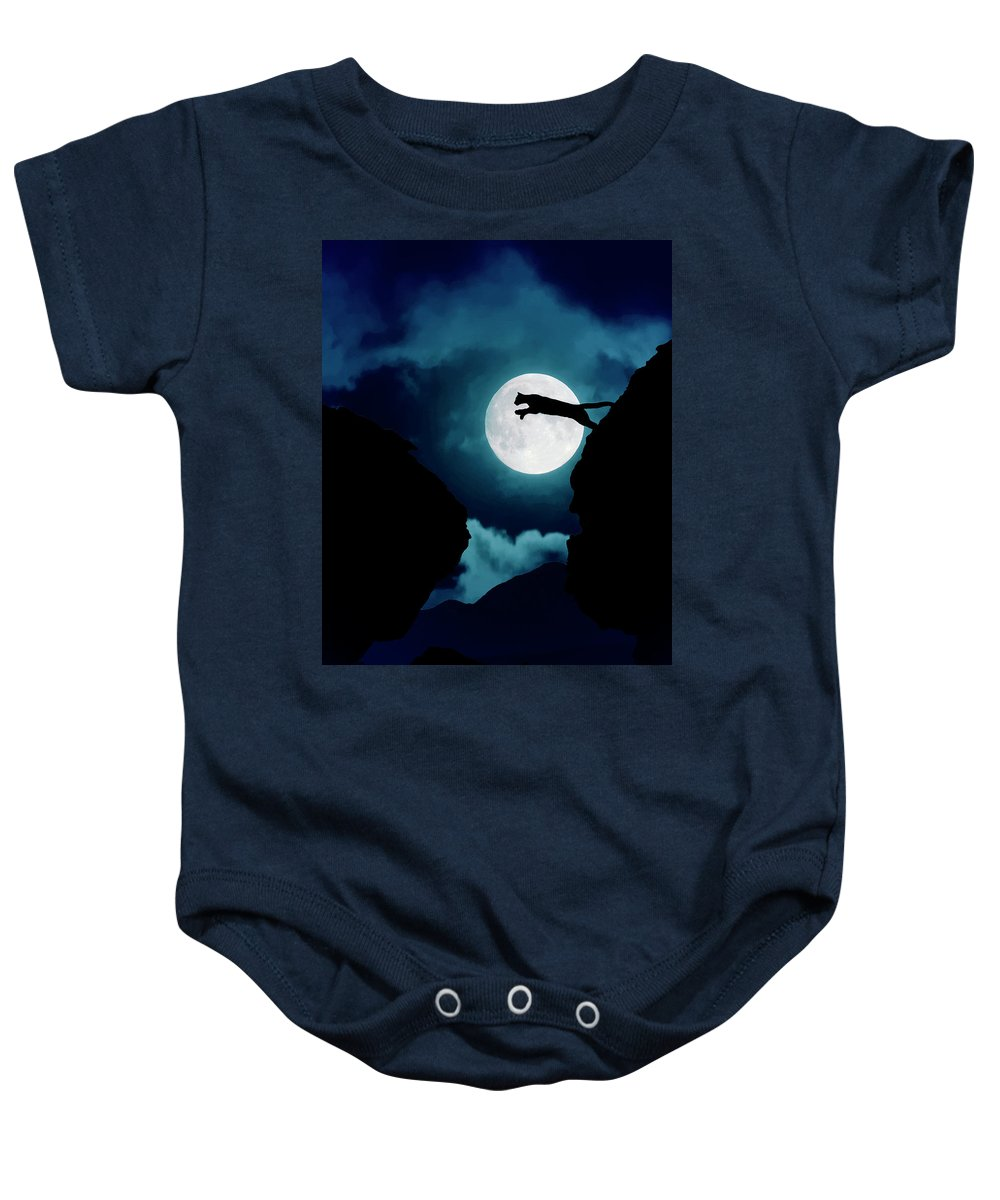 Mountain Lion Baby Onesie featuring the photograph Moonlight Leap by Roy Nierdieck
