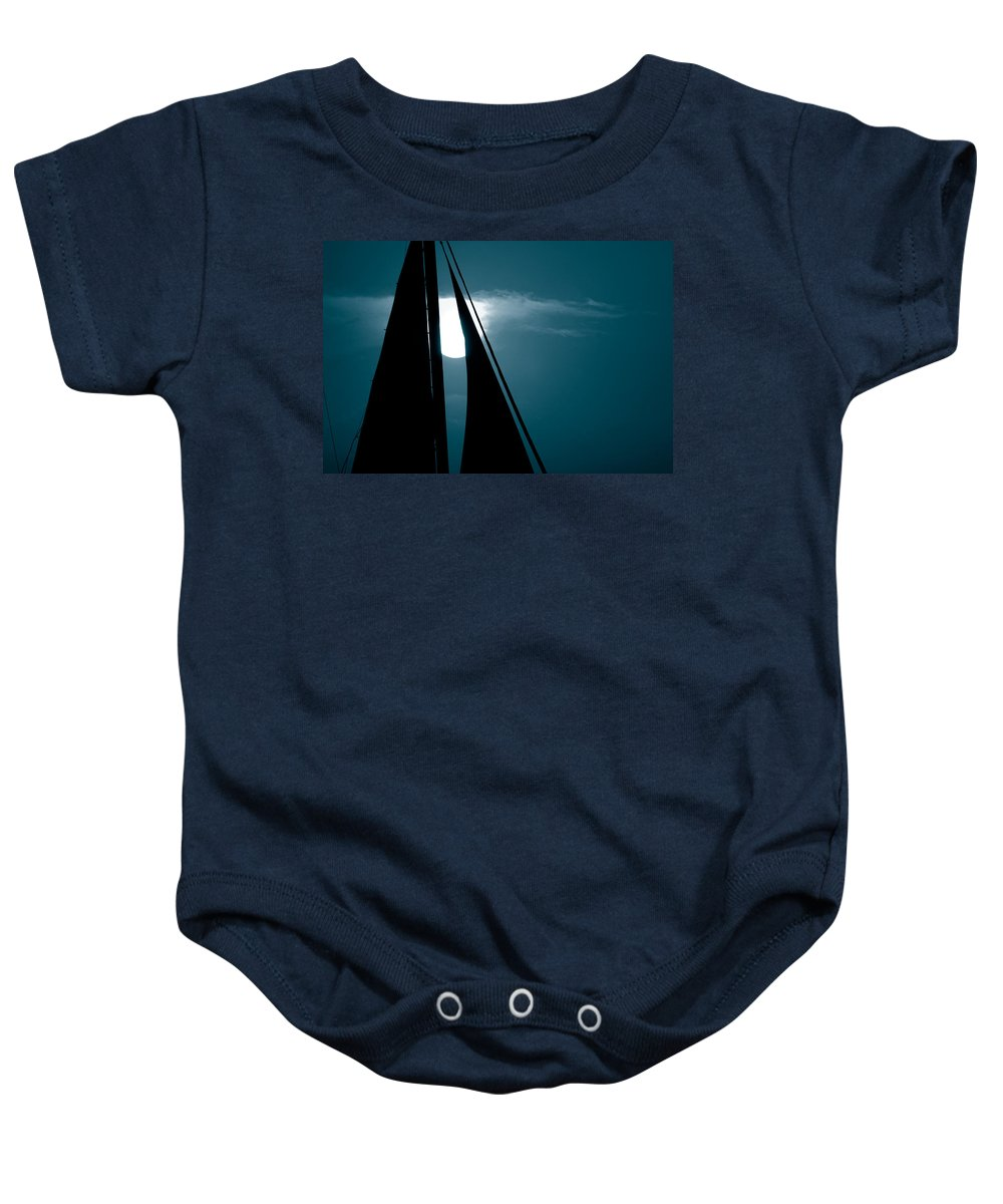 Sails Baby Onesie featuring the photograph Moonlight Sail by Susanne Van Hulst