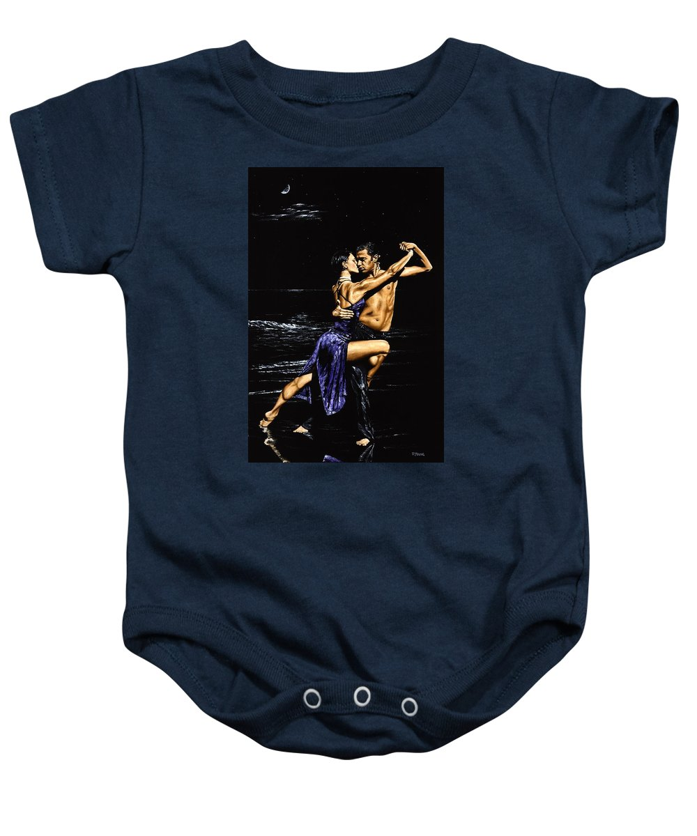 Moonlight Baby Onesie featuring the painting Moonlight Tango by Richard Young