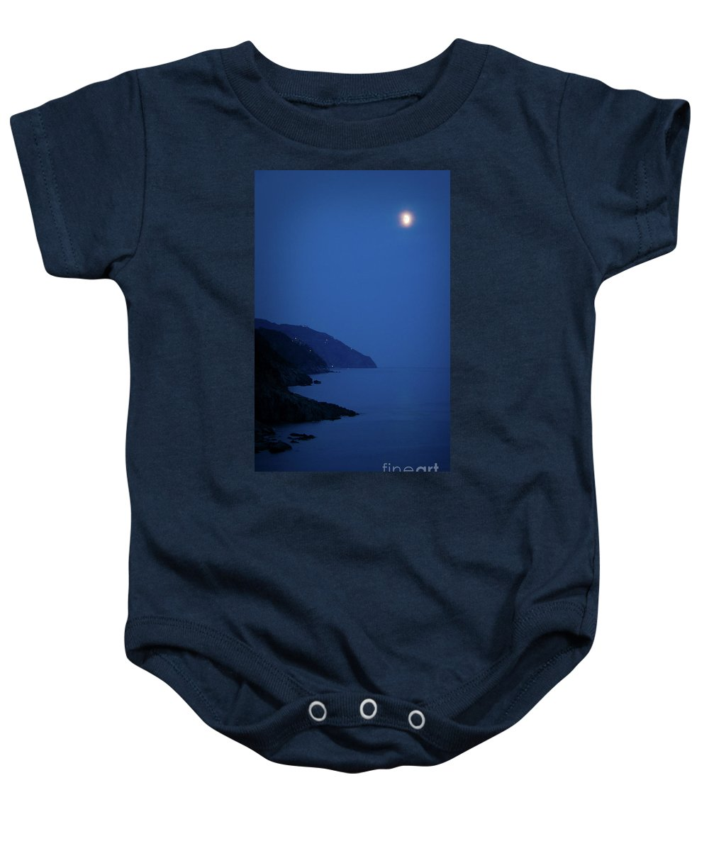 Vernazza Baby Onesie featuring the photograph Moonrise Over Vernazza by Doug Sturgess