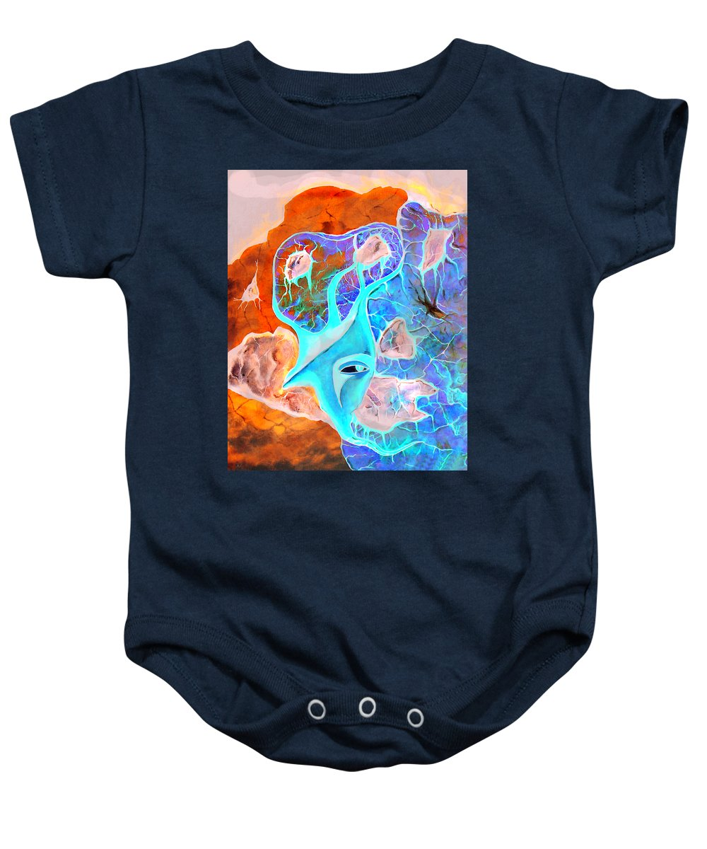 Surrealism Color Sky Haven Stones Baby Onesie featuring the painting More Seconds In My Head by Veronica Jackson