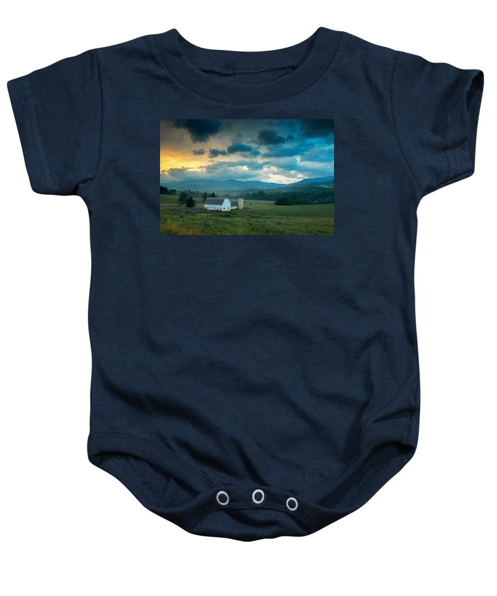 Asheville Baby Onesie featuring the photograph Morning On The Farm by Joye Ardyn Durham