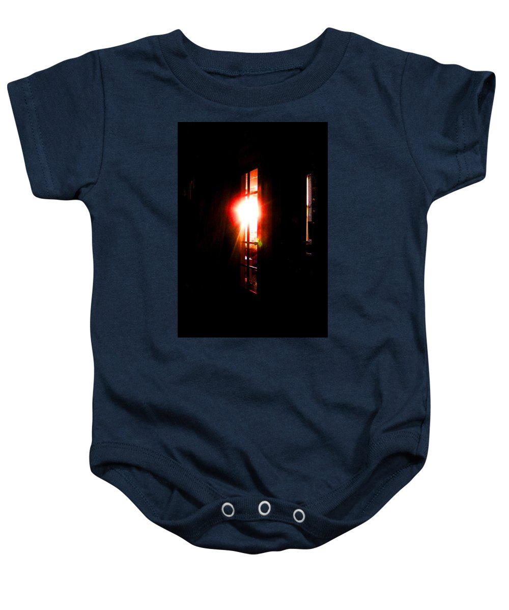 Abstract Baby Onesie featuring the digital art Morning Reflections by Rachel Christine Nowicki