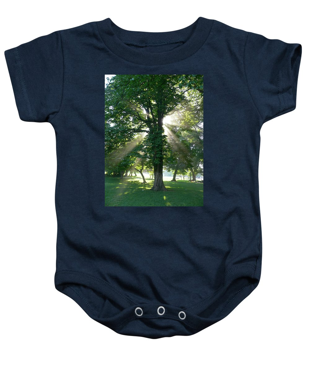 Tree Baby Onesie featuring the photograph Morning Tree by Angela Wright