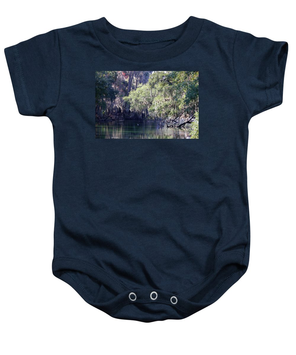 Trees Baby Onesie featuring the photograph Moss At Blue Springs by Deborah Benoit