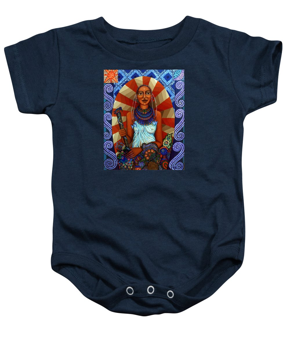 Mother Earth Baby Onesie featuring the painting Mother Earth by Madalena Lobao-Tello