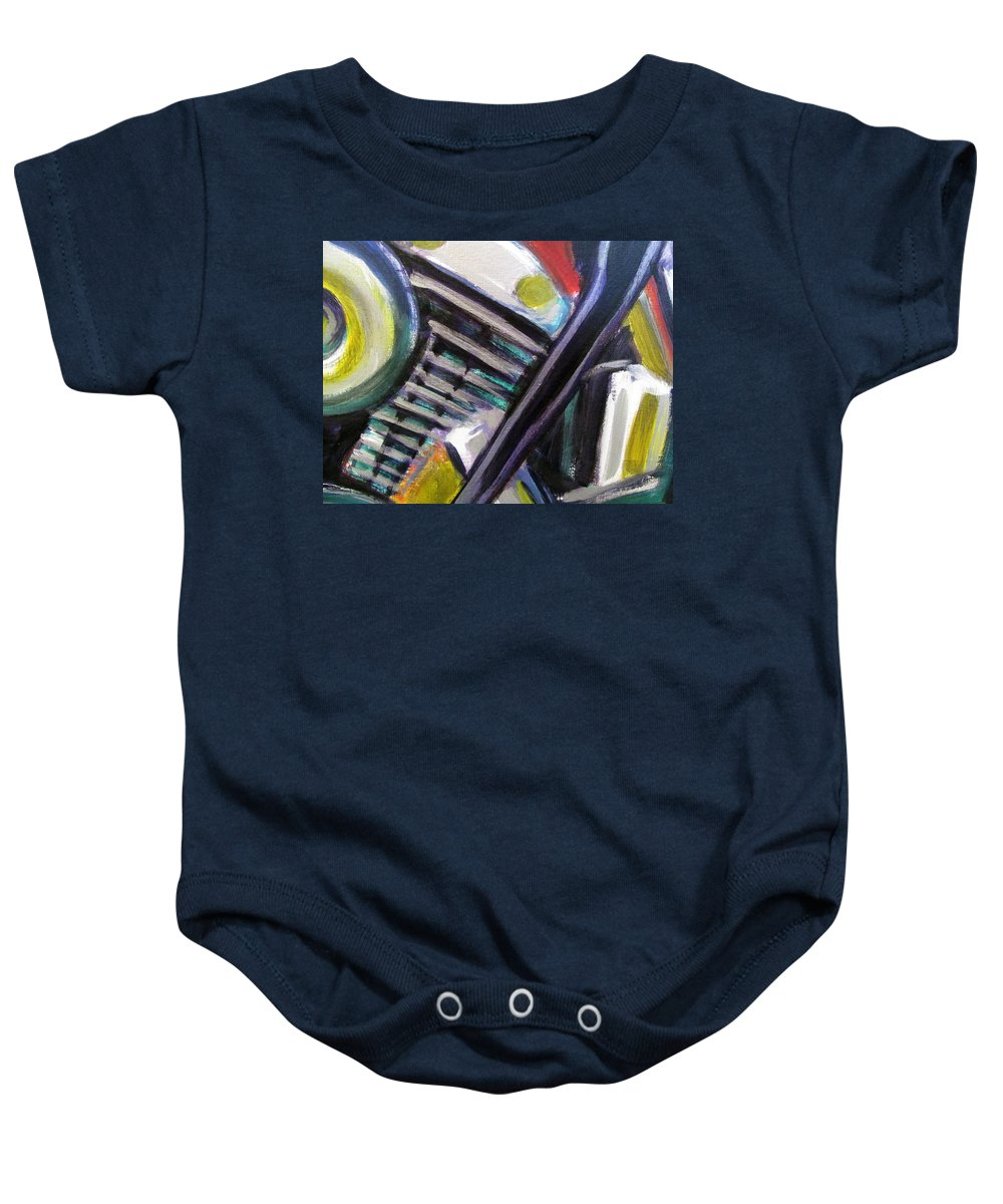 Motorcycle Baby Onesie featuring the painting Motorcycle Abstract Engine 1 by Anita Burgermeister