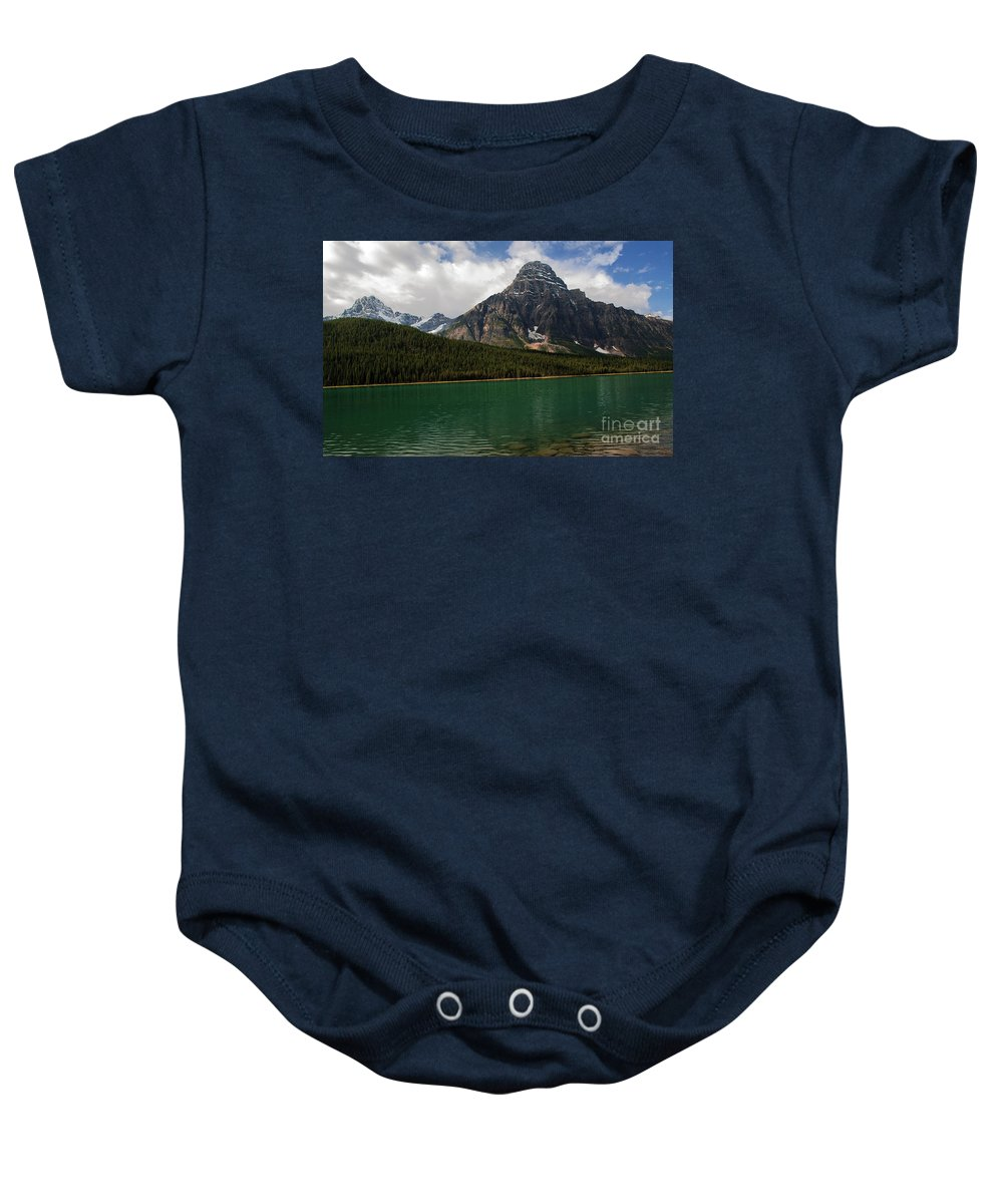 Mount Chephren And Waterfowl Lake Baby Onesie featuring the photograph Mount Chephren From Waterfowl Lake - Banff National Park by Yefim Bam