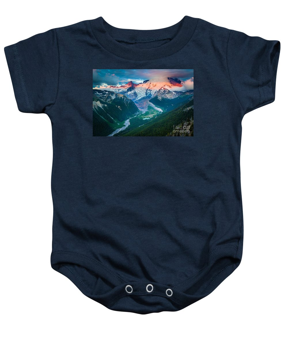 America Baby Onesie featuring the photograph Mount Rainier And White River by Inge Johnsson