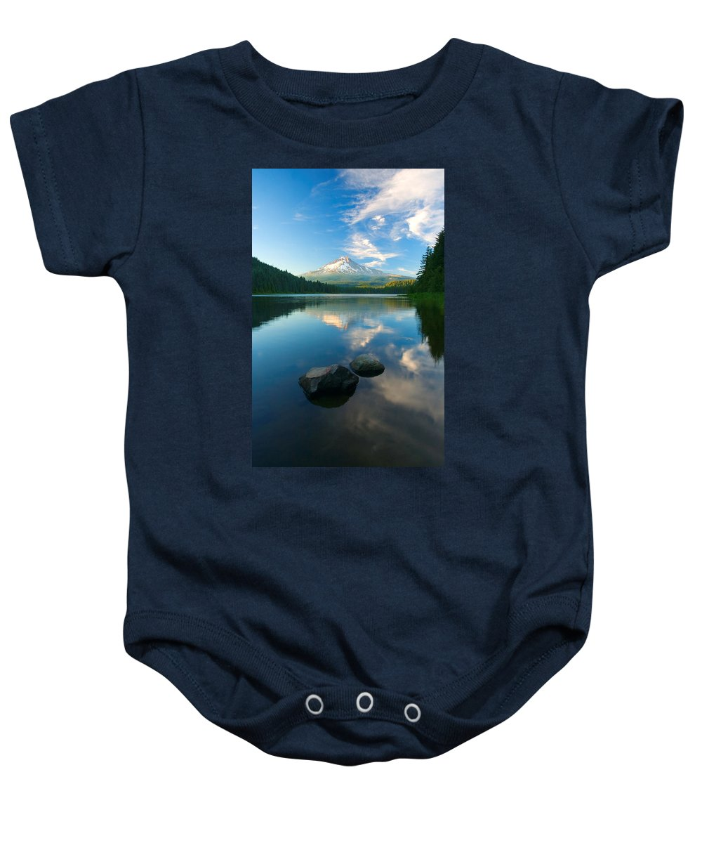Mt. Hood Baby Onesie featuring the photograph Mt. Hood Cirrus Explosion by Mike Dawson