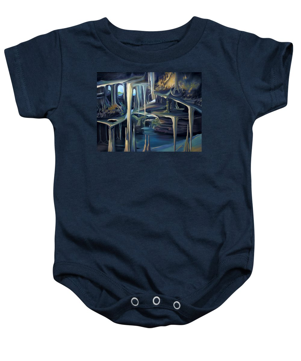 Mural Baby Onesie featuring the painting Mural Ice Monks In November by Nancy Griswold