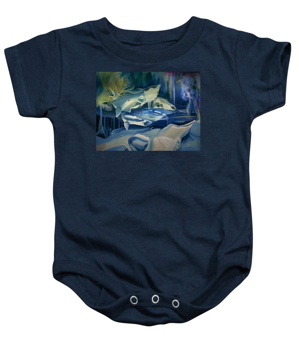 Surreal Baby Onesie featuring the painting Mural Skulls Of Lifes Past by Nancy Griswold