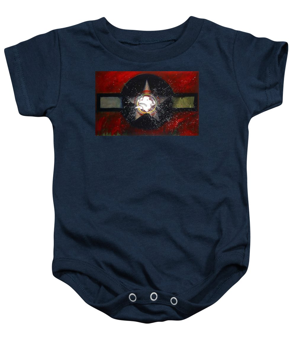 Usaaf Insignia Baby Onesie featuring the painting My Indian Red by Charles Stuart