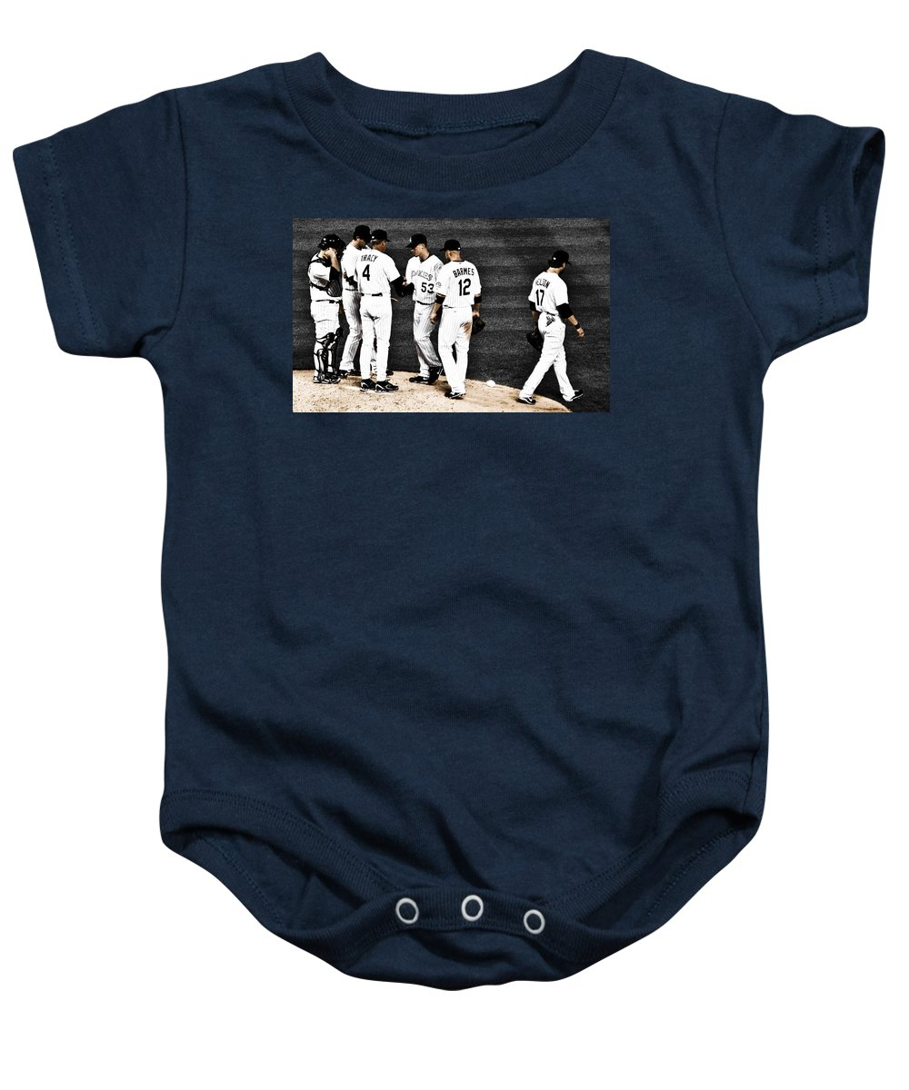 Baseball Baby Onesie featuring the photograph My Rock Collection - Colorado Rockies by Marilyn Hunt