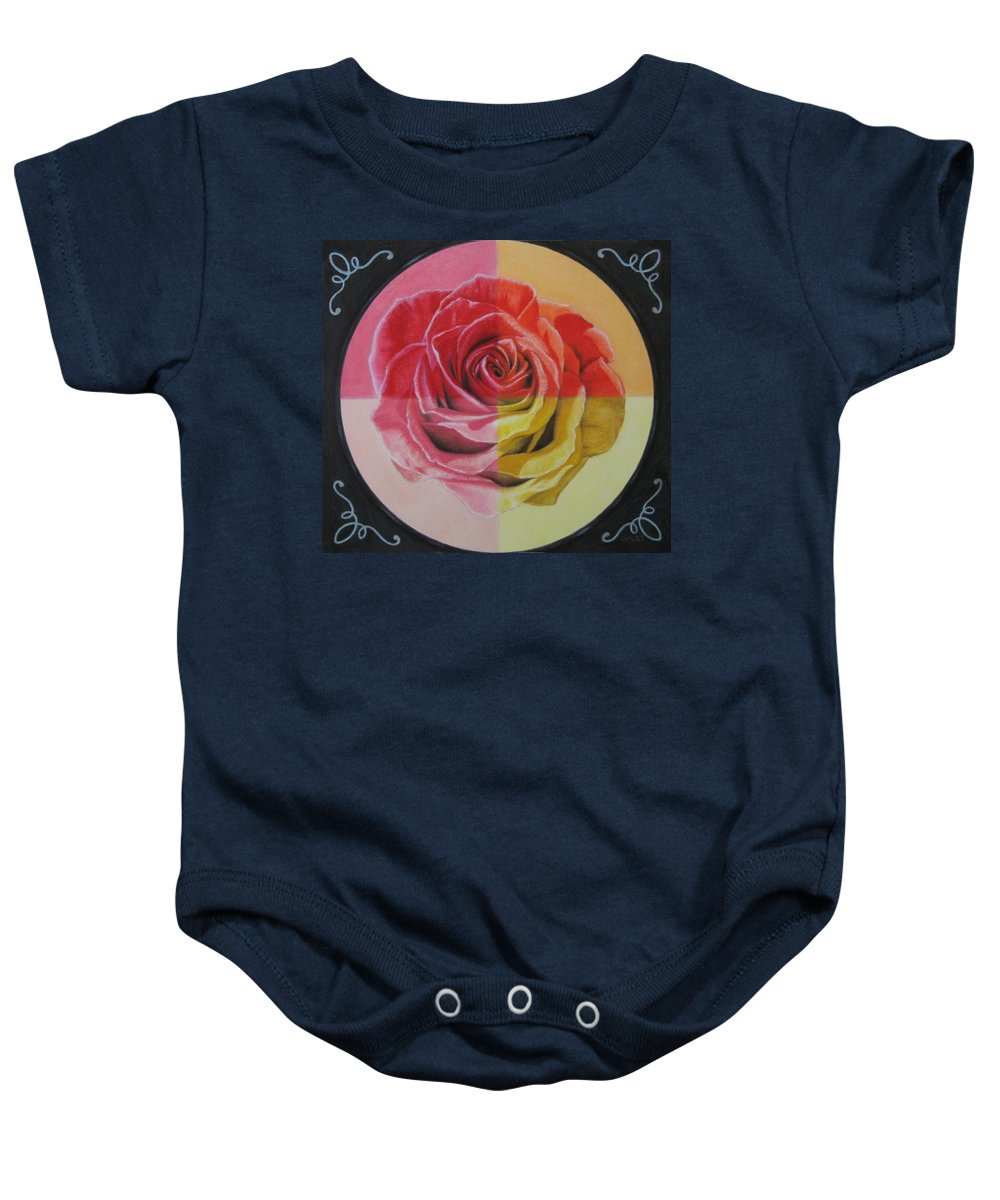 Rose Baby Onesie featuring the painting My Rose by Lynet McDonald