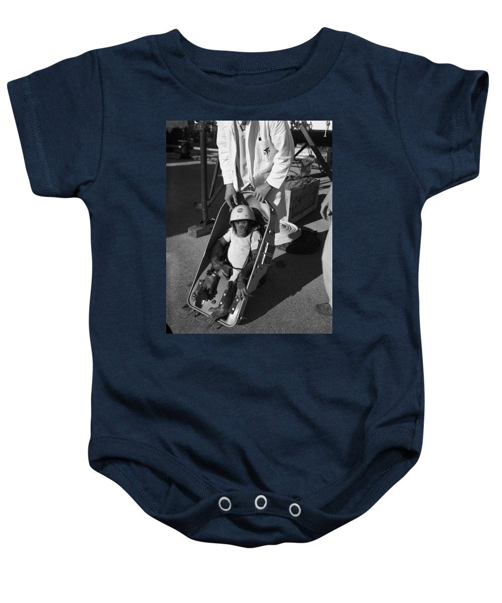 1961 Baby Onesie featuring the photograph Nasa Chimp, 1961 by Granger