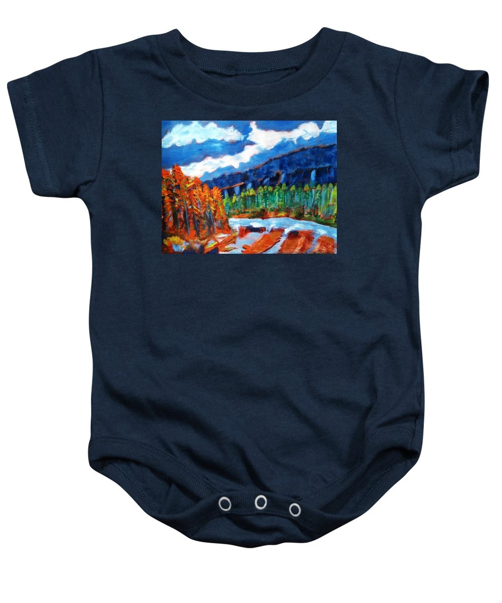 Mountains Baby Onesie featuring the painting Naturals by R B