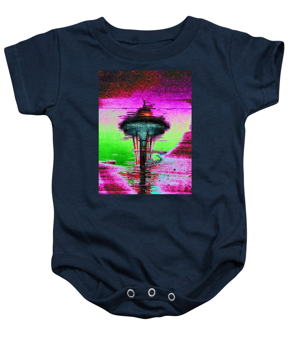 Seattle Baby Onesie featuring the digital art Needle In A Raindrop Stack by Tim Allen