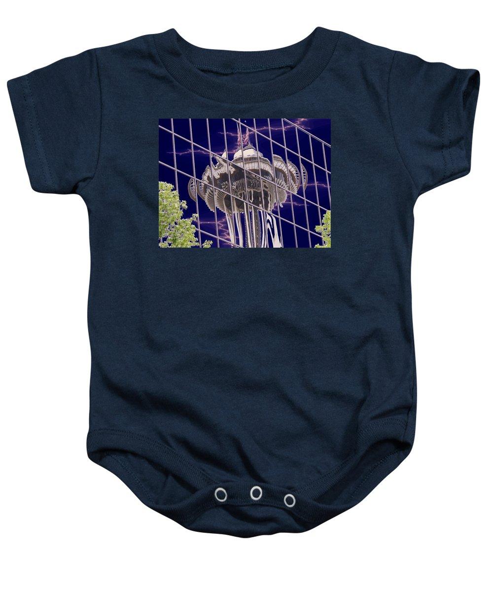 Seattle Baby Onesie featuring the digital art Needle Reflection by Tim Allen