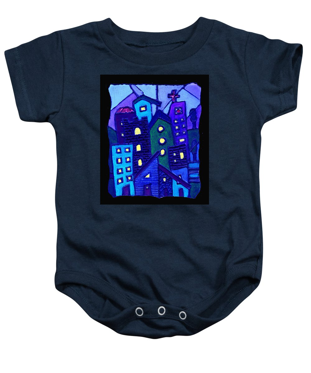 Urban Baby Onesie featuring the painting Neighborhood Blues by Wayne Potrafka
