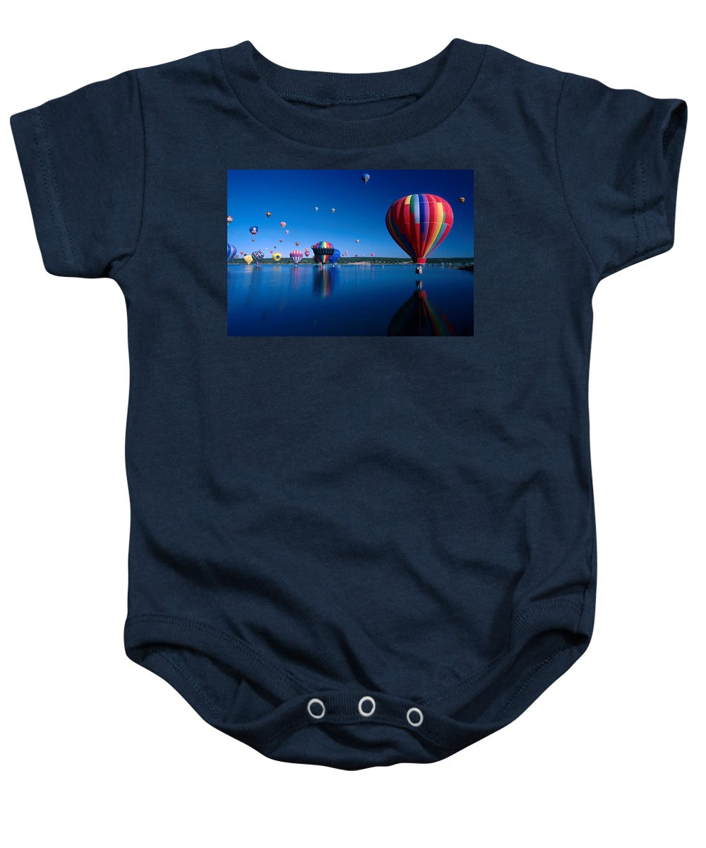 Hot Air Balloon Baby Onesie featuring the photograph New Mexico Hot Air Balloons by Jerry McElroy