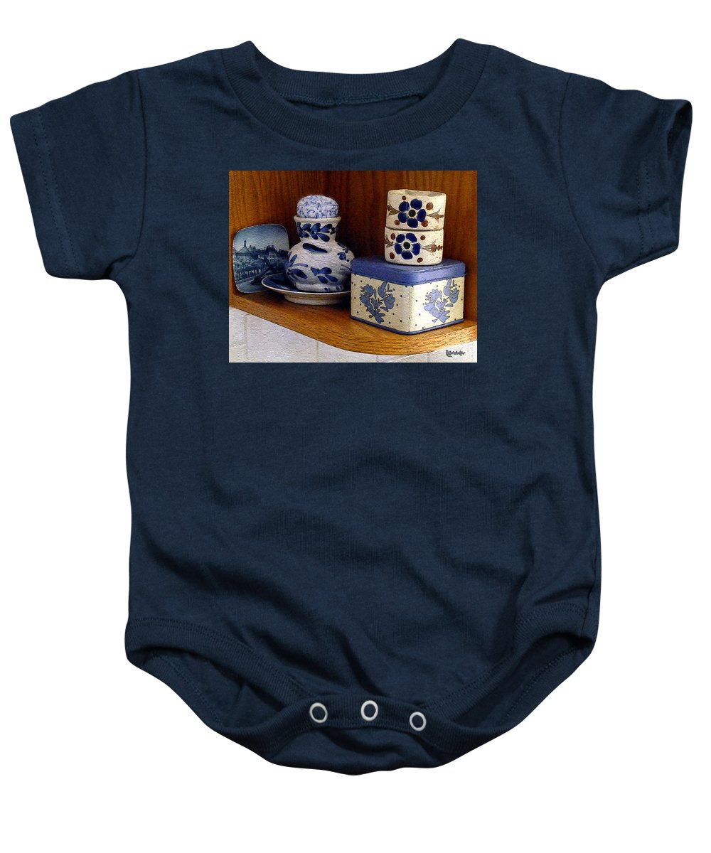 Box Baby Onesie featuring the digital art New Shelf Old Memories by RC DeWinter